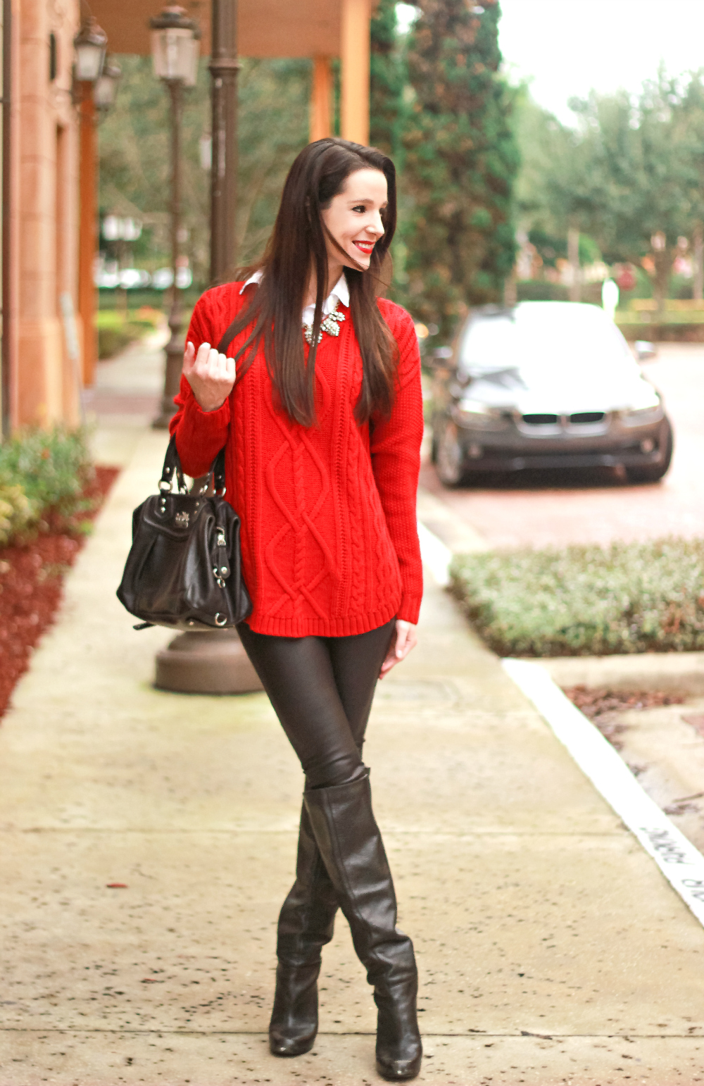 Oversized Red Cable Knit Faux Leather Leggings Diary