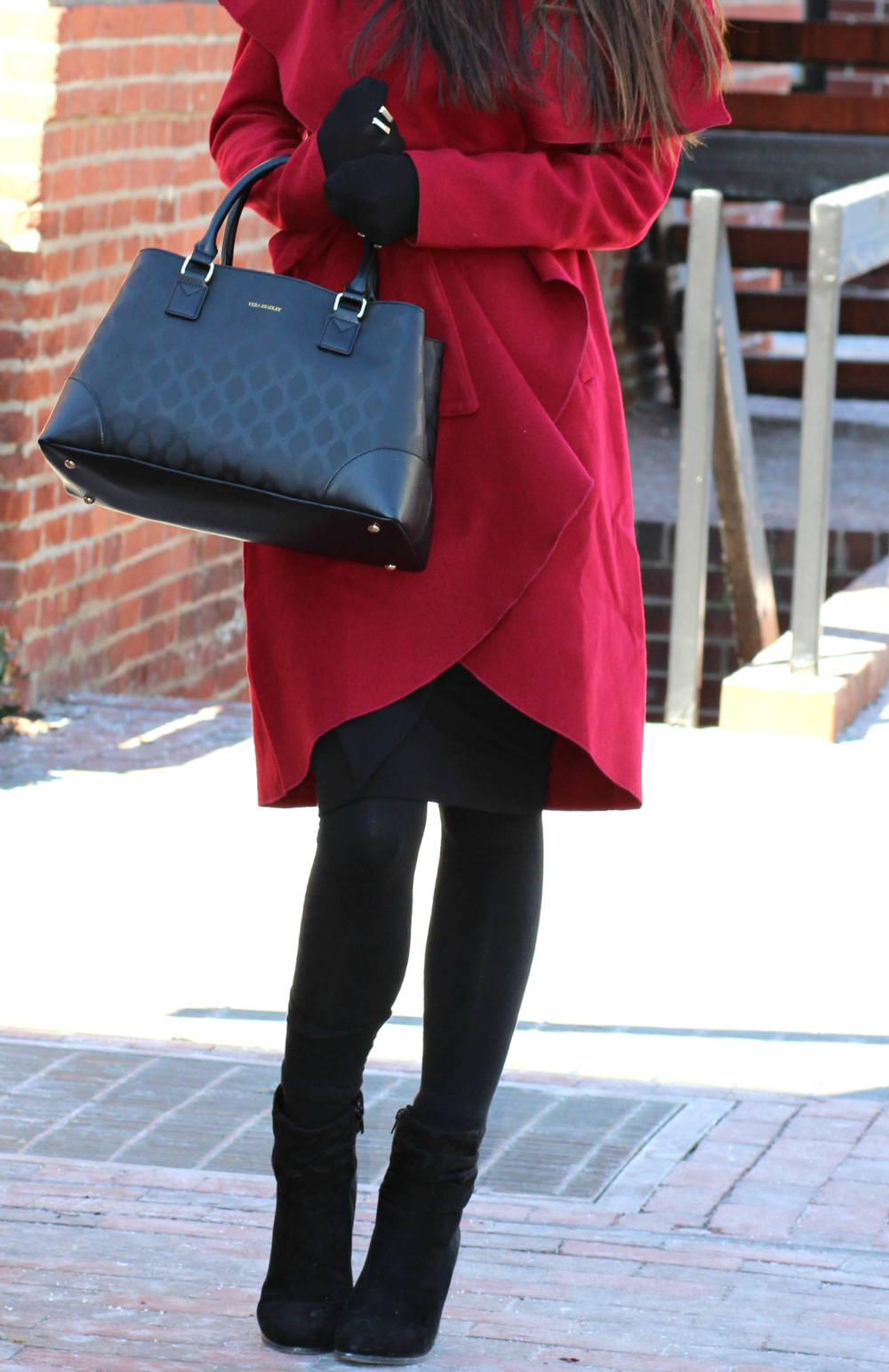 Burgundy Ruffle Coat, SheIn Coat, Inexpensive Burgundy Coat, Vera Bradley satchel, Stephanie Ziajka, Diary of a Debutante