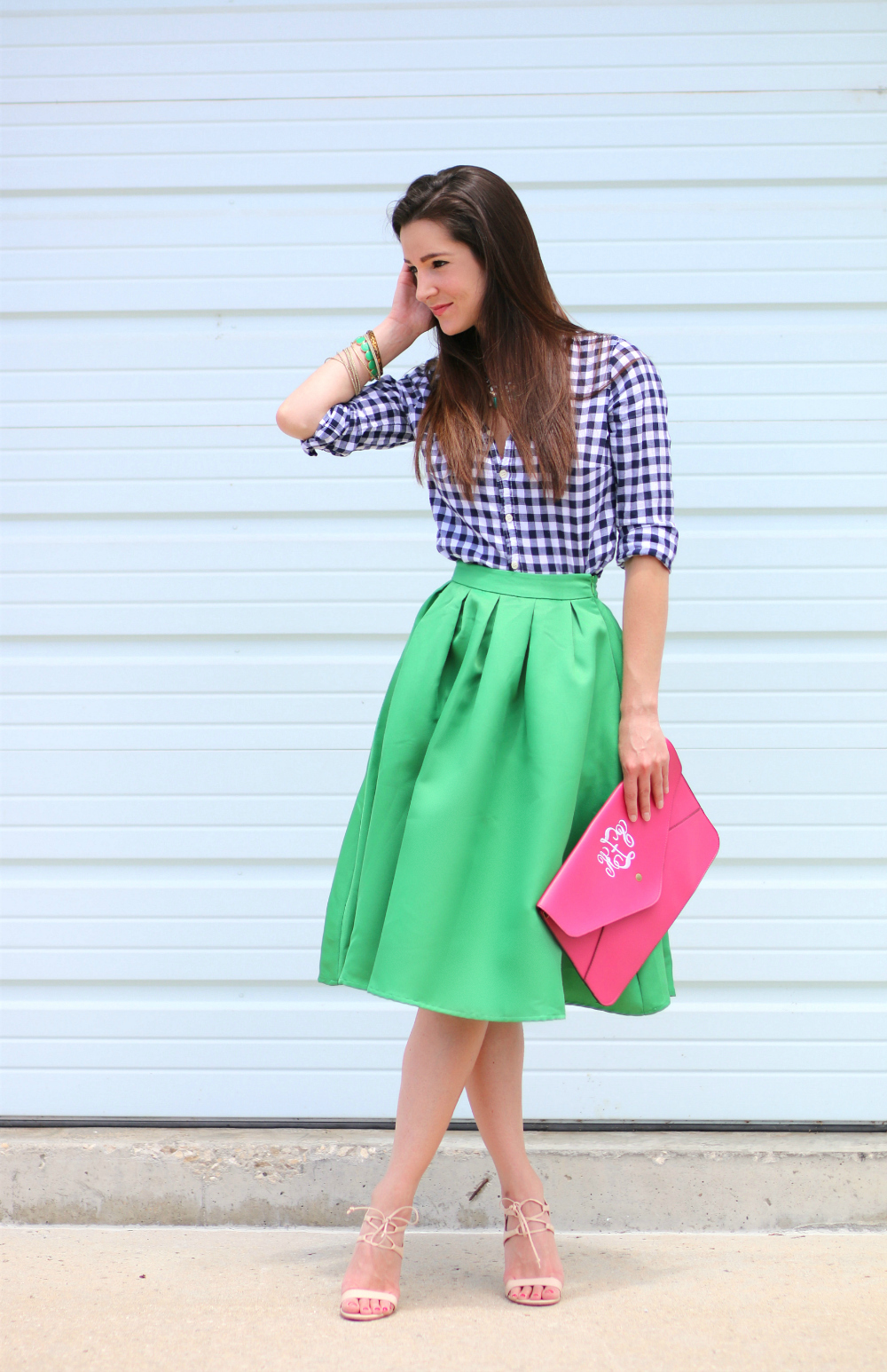 Kelly Green Midi Skirt   Emerald Jewels - Diary of a Debutante