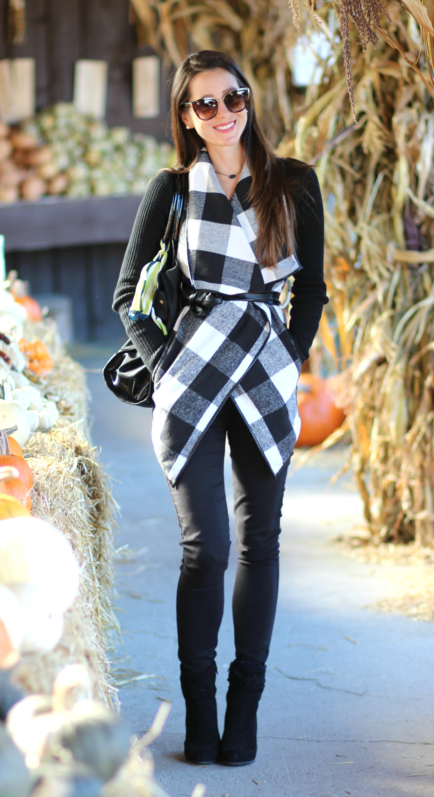 Affordable black and white plaid wrap coat from SheIn