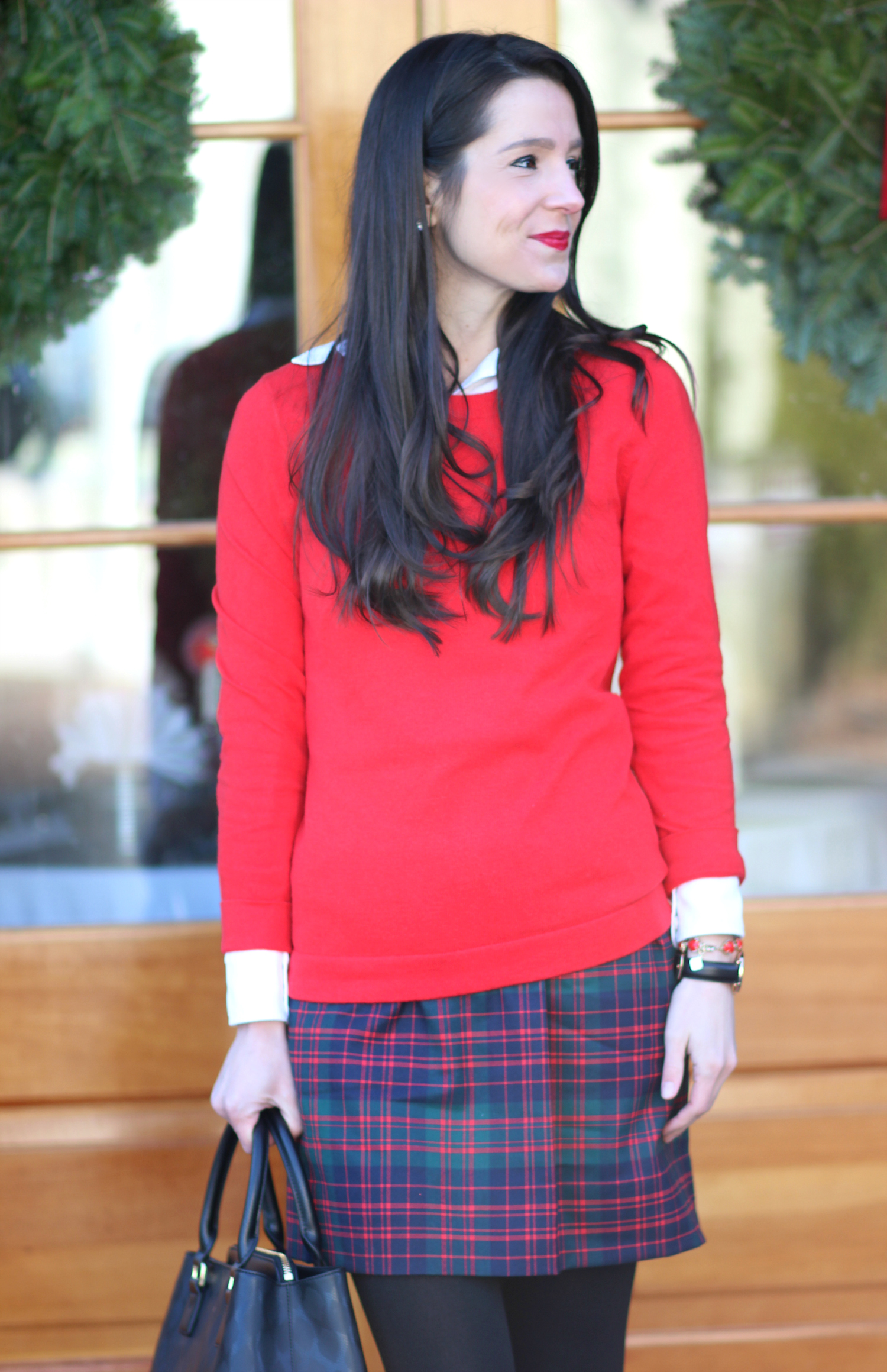 J.Crew Factory Tartan Mini Skirt and Red Teddie Sweater