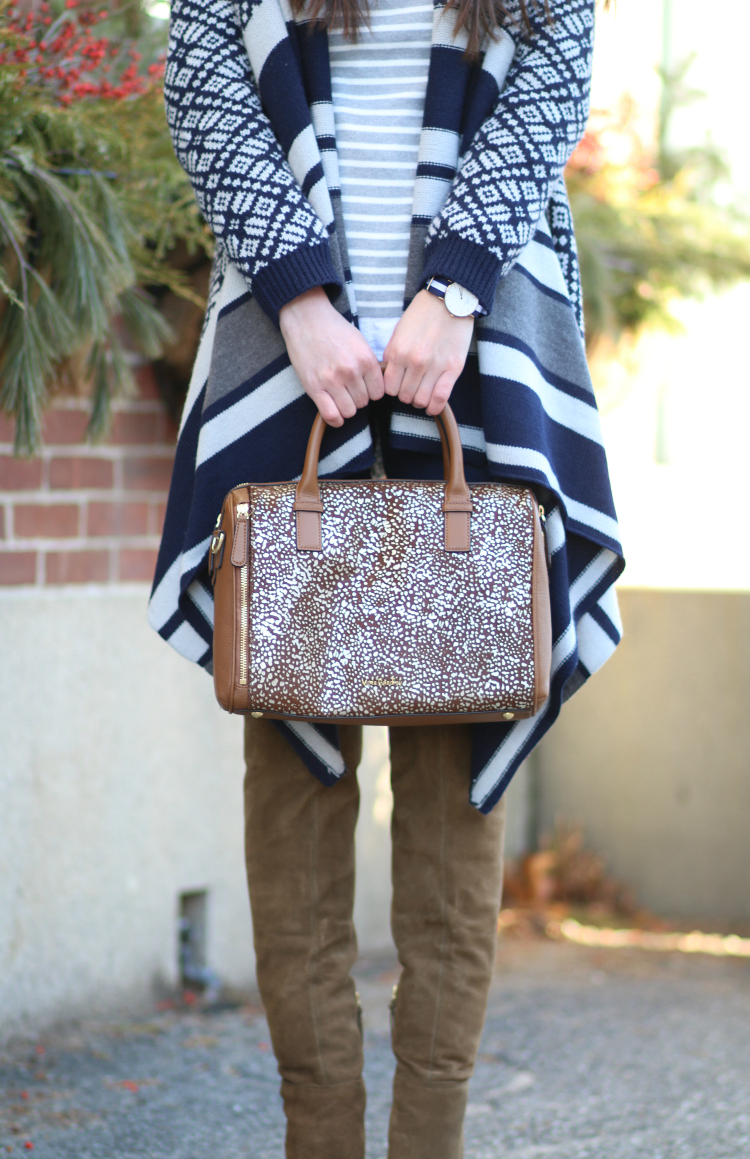 Navy Jacquard Poncho and Cognac OTK Boots