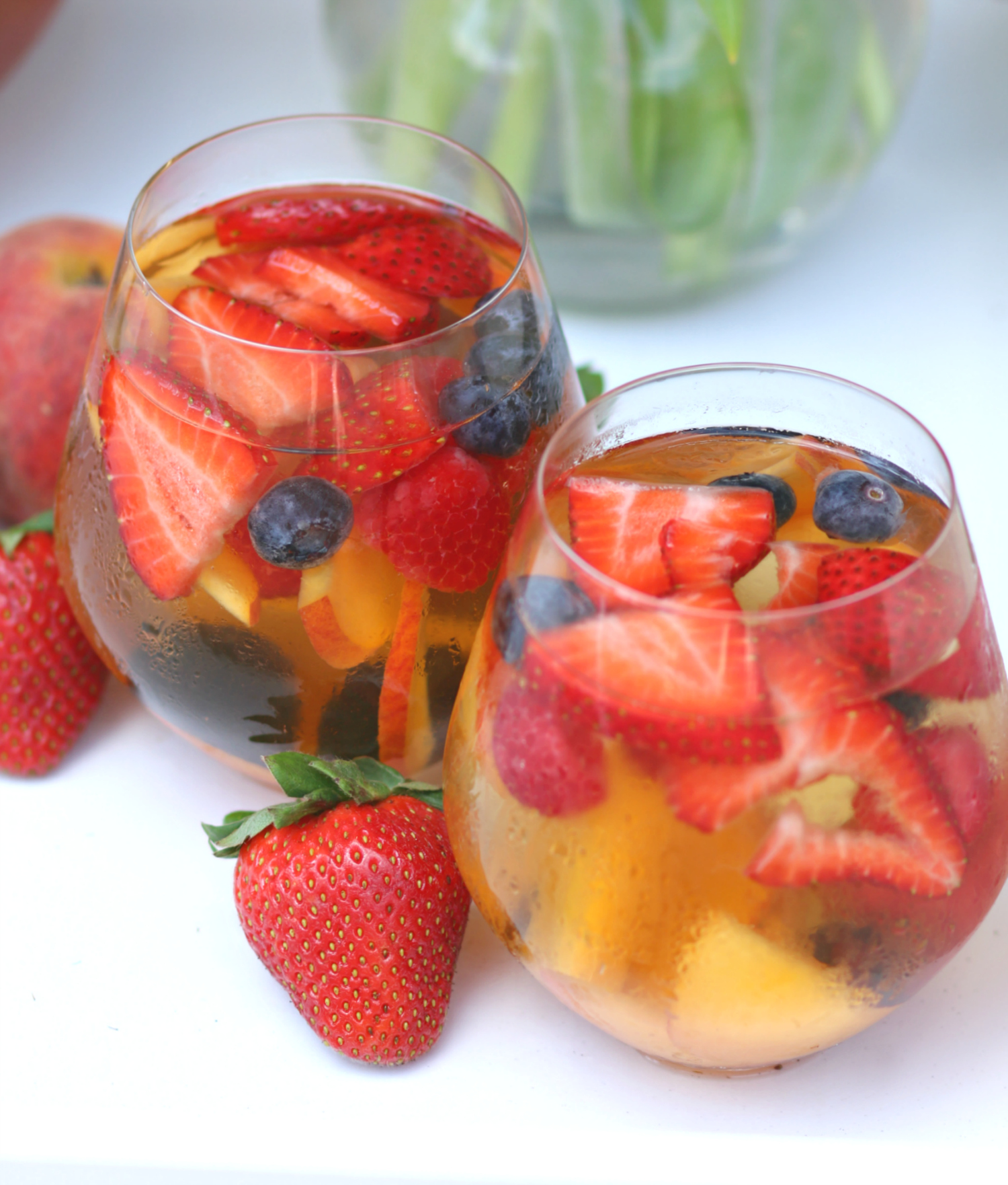 Delicious spring sangria recipe with St. Germaine and Wente Chardonnay