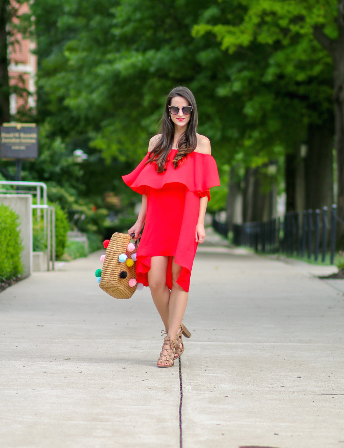 SheIn Red High Low Off the Shoulder Dress and DIY Pom Pom Tote Tutorial