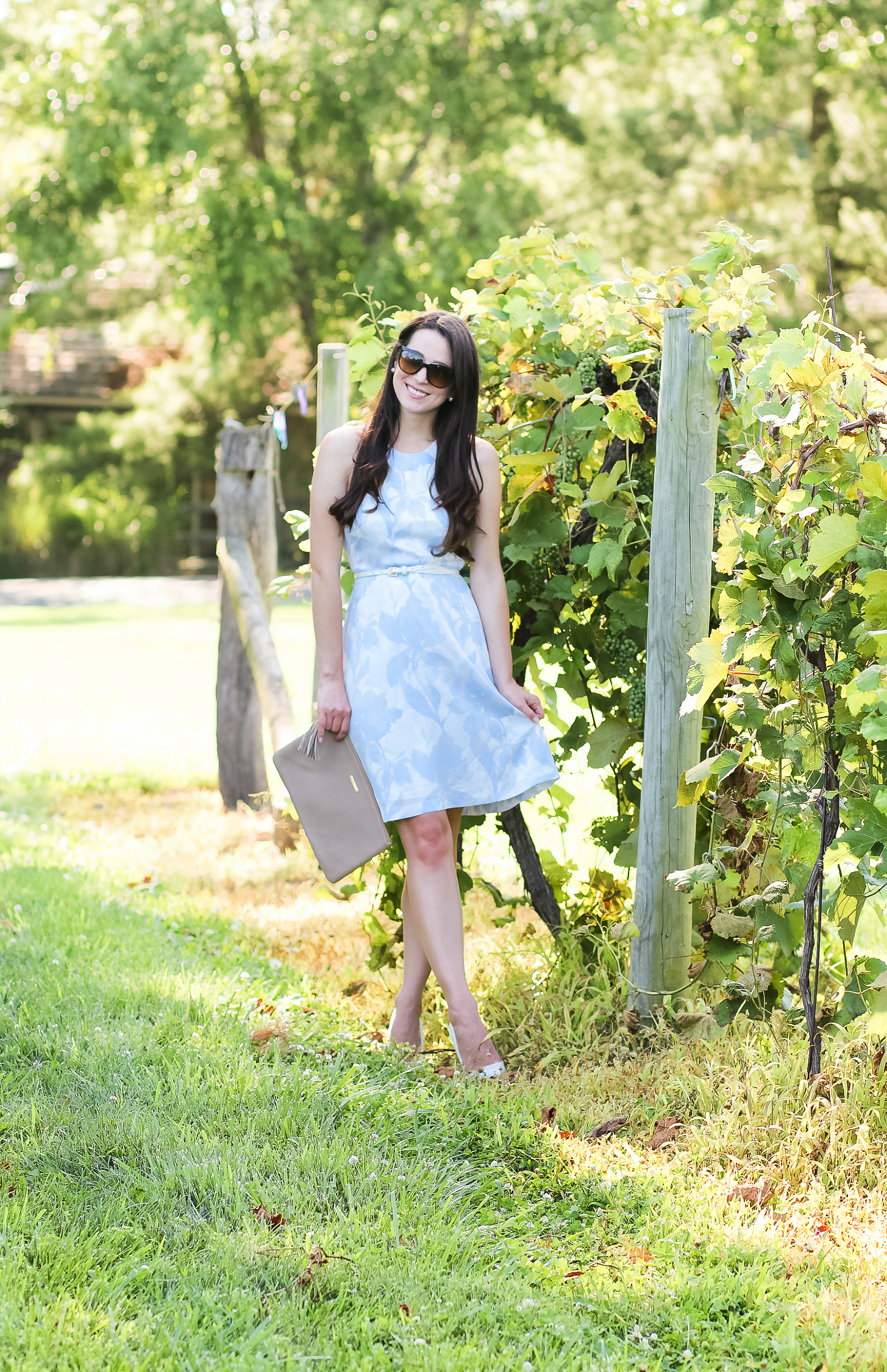 What to Wear to a Wine Tasting: Banana Republic Floral Fit and Flare Dress