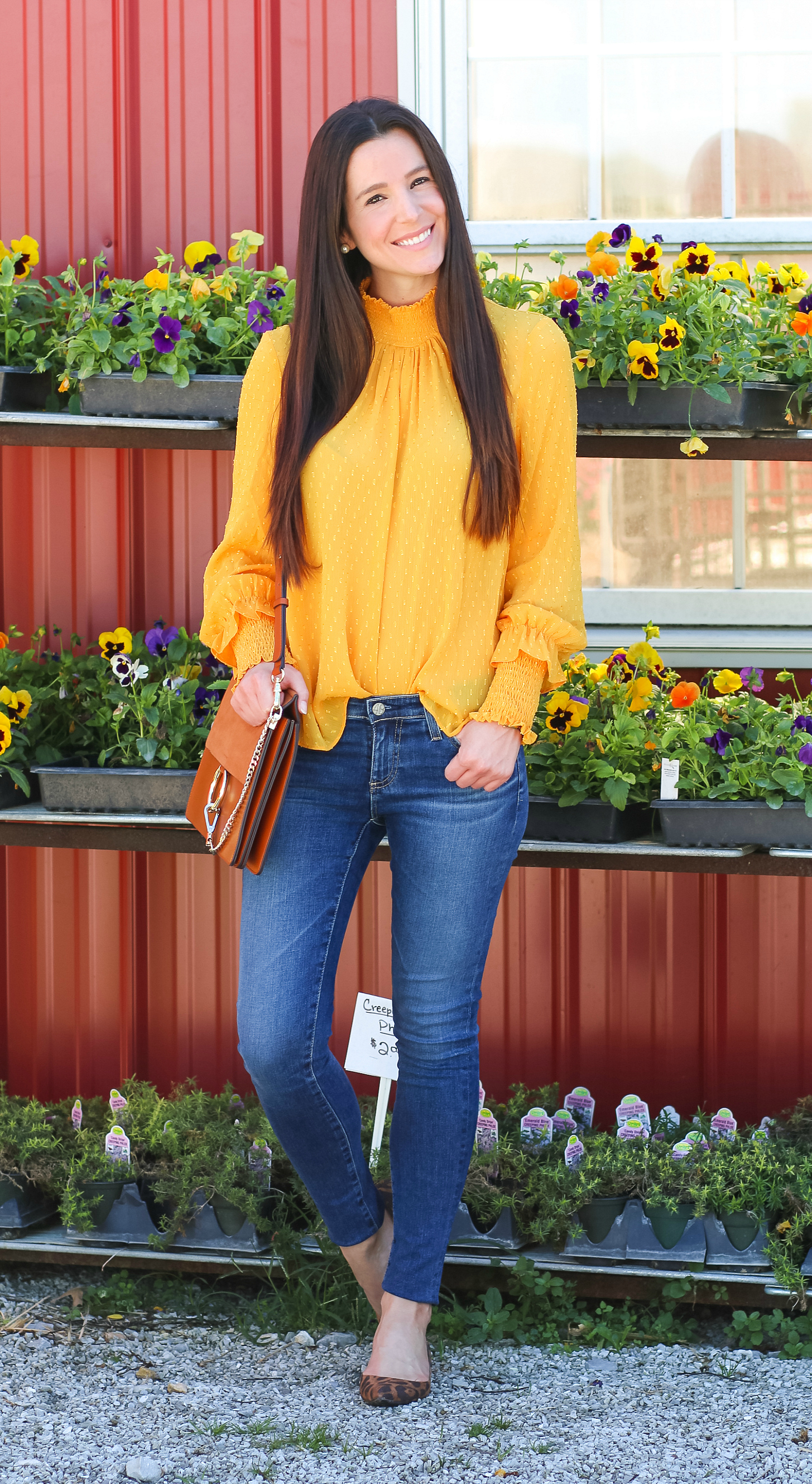 English Factory marigold swiss dot blouse with victorian collar, AG The Legging raw hem ankle skinny jeans, leopard flats, and brown Chloe Faye dupe bag | How to wear a victorian collar casually for fall by fashion blogger Stephanie Ziajka from Diary of a Debutante