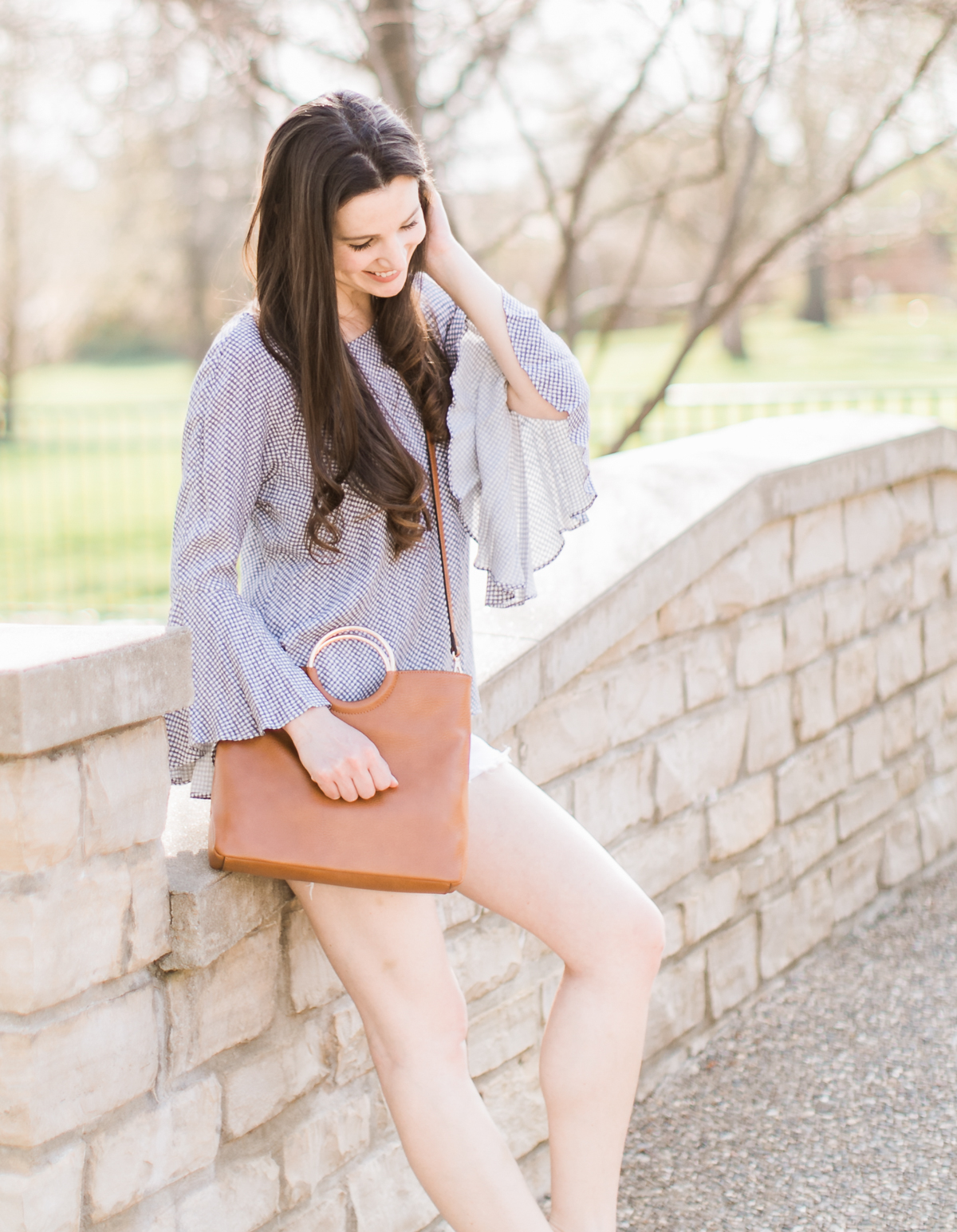 Pastel Lookbook: Spring Style Picks from Kohl's by southern fashion blogger Stephanie Ziajka from Diary of a Debutante, top kohl's picks, spring wardrobe essentials, cute spring clothes for women, cute spring outfits, cute spring outfits for women, LC Lauren Conrad Bell Sleeve Top in Gingham Liz Lavender, Levi's High Waist Jean Shorts, LC Lauren Conrad Ring Convertible Crossbody Bag, Madden NYC Ellsaa Wedges